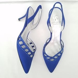 Adrianna Papell Haven Satin Heels Blue Silver  8M